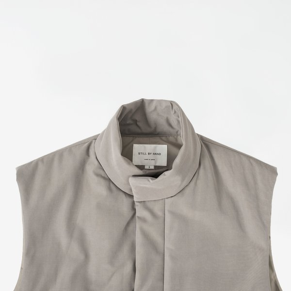 Still By Hand Padded stand collar vest - greige