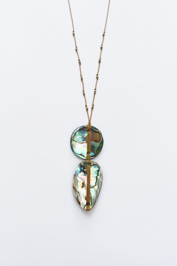 See Real Flowers Woven Abalone Necklace