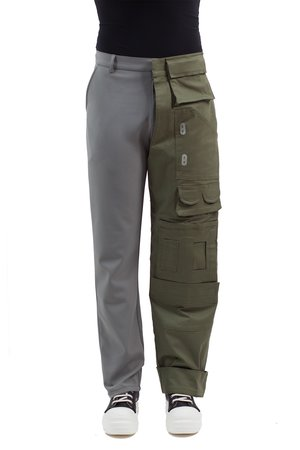 Half Cargo Trousers - Grey/Green