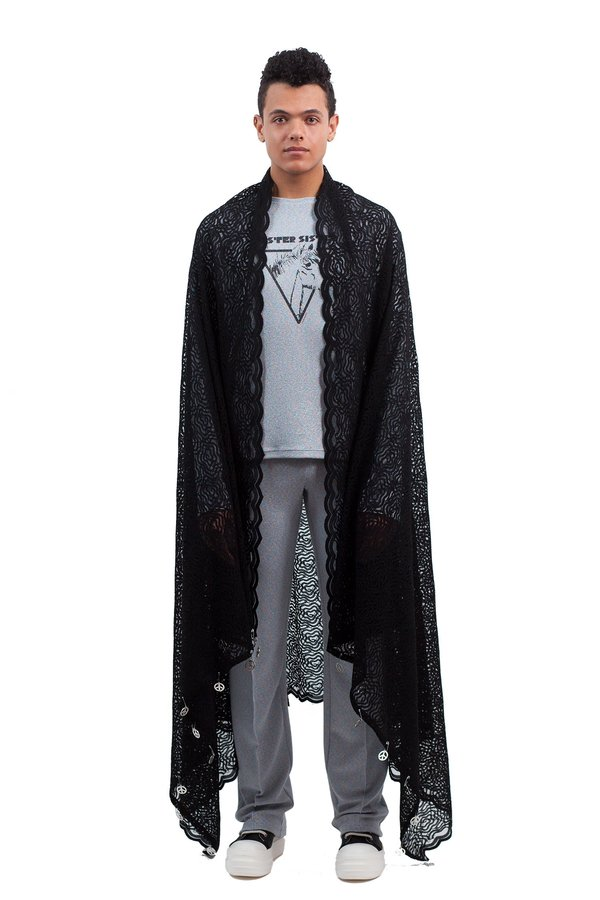 LAZOSCHMIDL JONATHAN Lace Blanket scarf - black