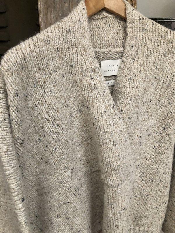 Lauren Manoogian Open Neck Pullover - Beige Tweed
