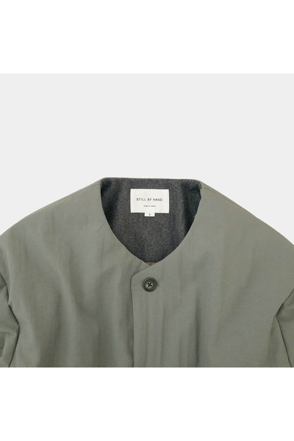 STILL BY HAND Padded Bomber Style Jacket - spruce green