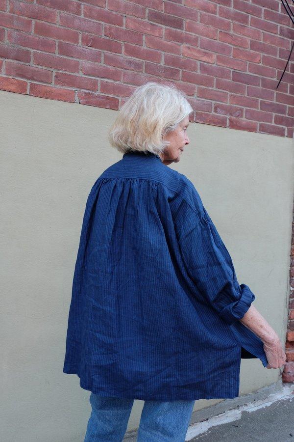 ICHI ANTIQUITES Linen striped Shirt - Indigo