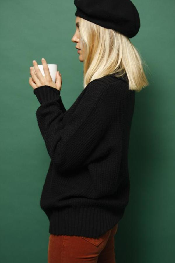 Lush High Neck Chunky Sweater - Black