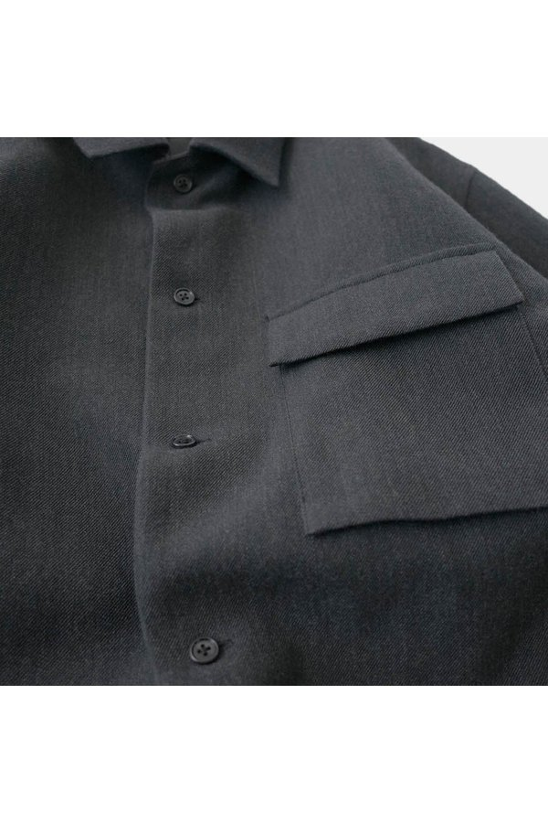 STILL BY HAND Relaxed Flap Pocket Jacket - GRAY