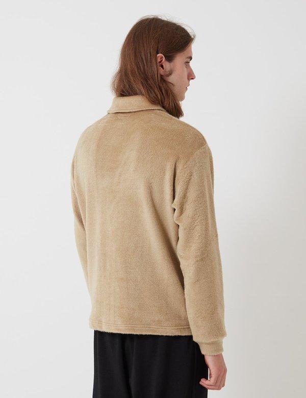Lady White Co. Furry Quarter Zip sweater - Beige