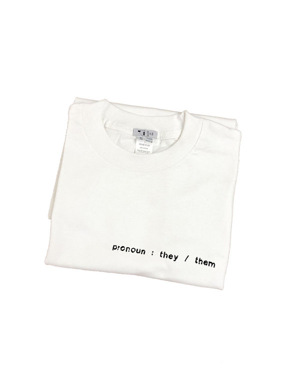 unisex house of 950 non-binary pronoun embroidery tee shirt