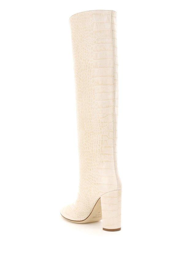 Paris Texas Pointed High Croc Boots - Beige