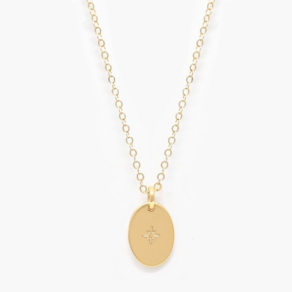 Able Dainty Oval Necklace - gold
