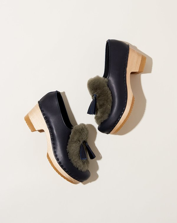 No.6 Billie Mid Heel Fur Clog