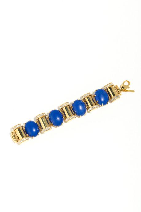 Lele Sadoughi Hieroglyphics Blue Stone and Pavé Bullet Bracelet