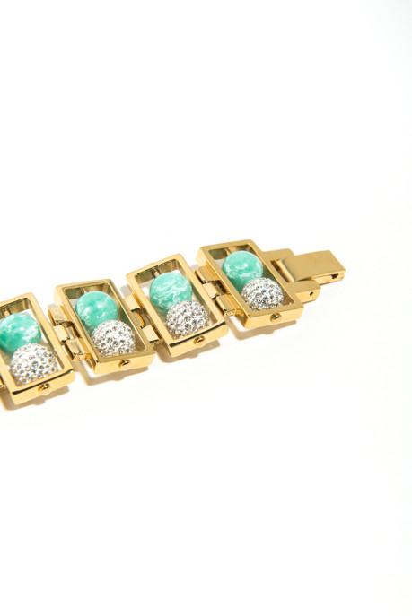 Lele Sadoughi Lagoon Green & Pavé Double Galaxy Bracelet