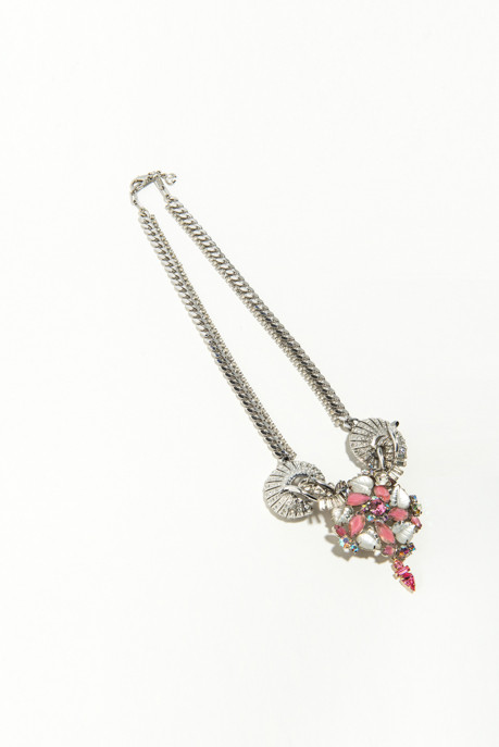 Musa Tryon Rhinestone Shell Necklace with Pink Pendant