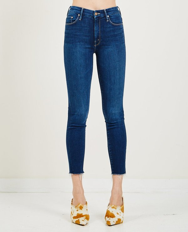 Mother Denim High Waisted Looker Ankle Fray Jeans - Home Movies