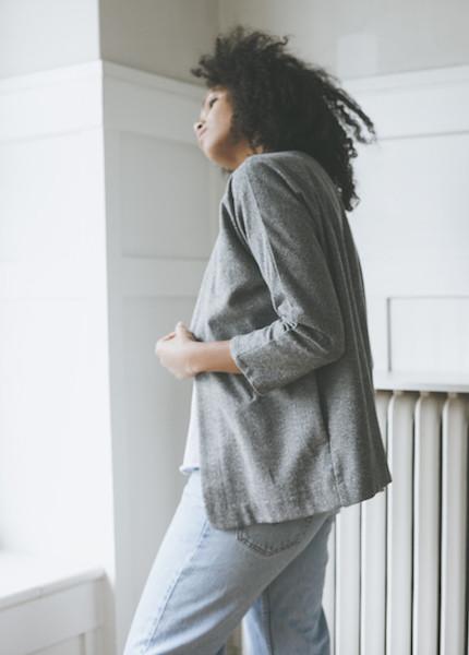 Me & Arrow Cardi Jacket in Fuzzy Grey