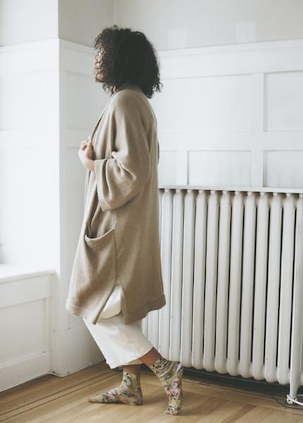 Bare Knitwear Chaki Kimono Coat - Camel
