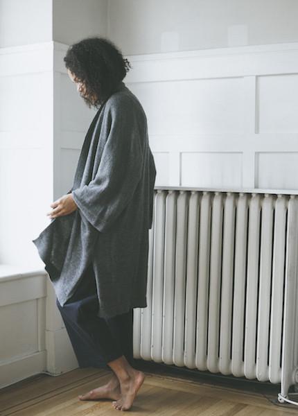 Bare Knitwear Chaki Kimono Coat - Charcoal