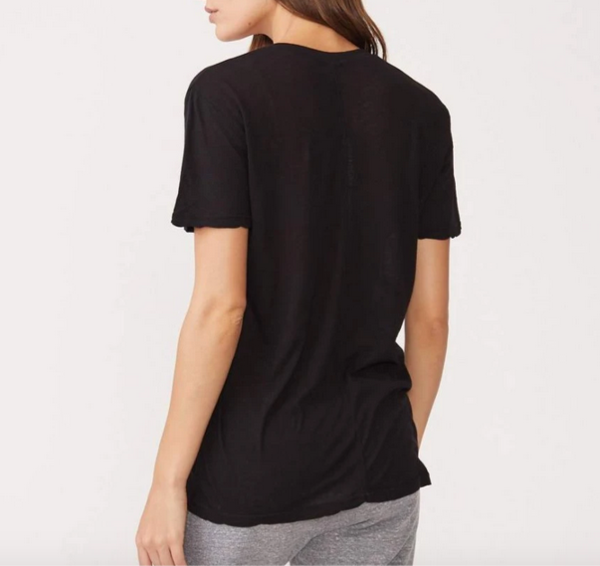 MONROW Relaxed V-neck top - Faded Black