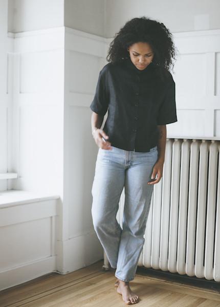 Ursa Minor Tilly Blouse - Black Linen