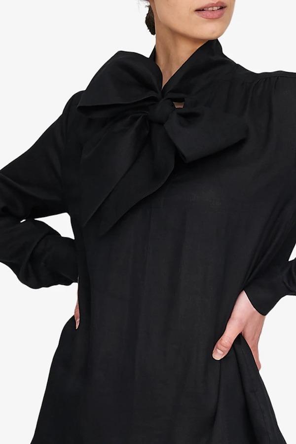Matlo Atelier x The Sleep Shirt Helena Dress - Black Linen