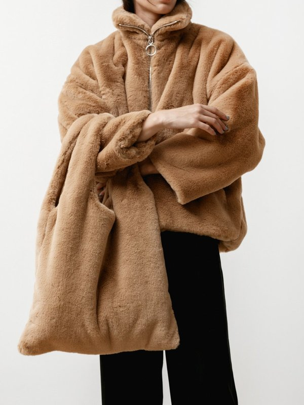 Priory Faux Fur Shopping Tote - Camel
