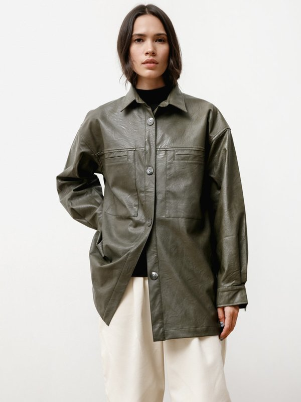 Priory The Vegan Leather Overshirt - Green