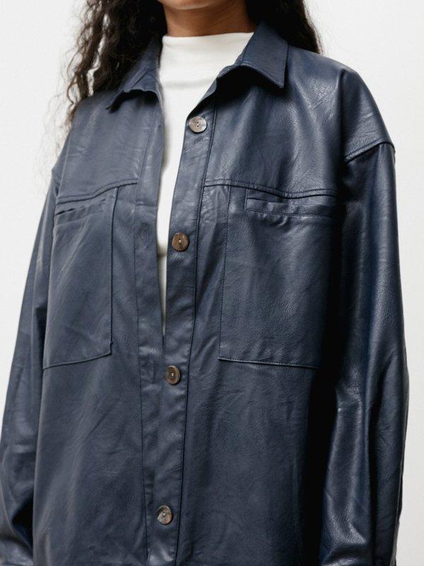 Priory The Vegan Leather Overshirt - Navy
