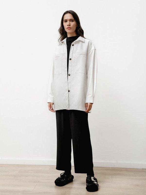 Priory The Vegan Leather  Overshirt - White