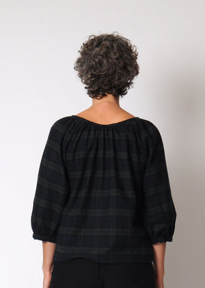 Conifer Gathered Top - Navy Plaid