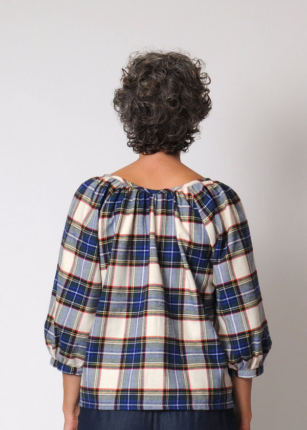 conifer shop Conifer Reversible Gathered Top - White Plaid