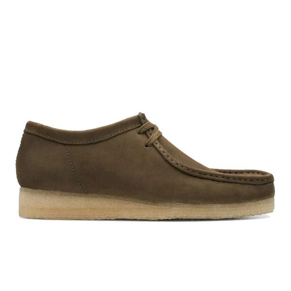 Clarks Wallabee Shoe - Dark Olive Nubuck