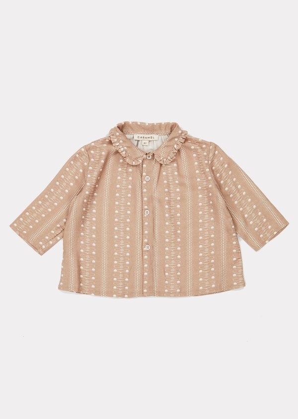Kids Caramel Tern Shirt - Chestnut Dotty Print