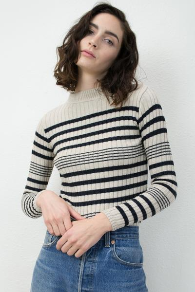 Micaela Greg RIB SWEATER - BLACK + CREAM
