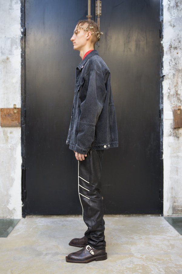 Martine Rose Panelled Oversized Denim Jacket -  Black Washed