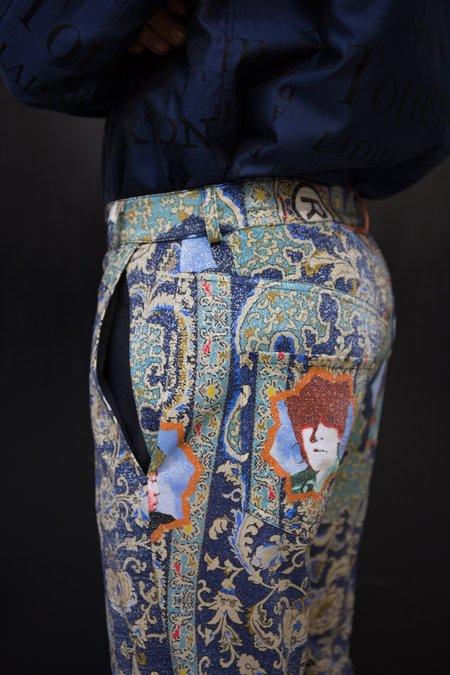 Martine Rose Lurex Straight Leg Trouser - Blue Dragonfly Printed