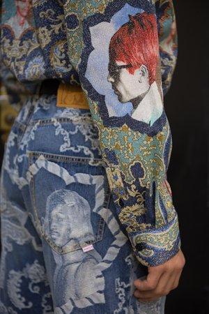 Blue Rug Printed Glitter Lurex Classic Shirt