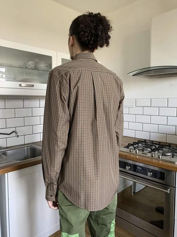 Martine Rose Classic Poplin Cotton Shirt - Brown Check