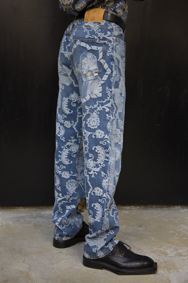 Martine Rose Ronnie Relaxed Fit Jean - Jacquard Vintage Wash
