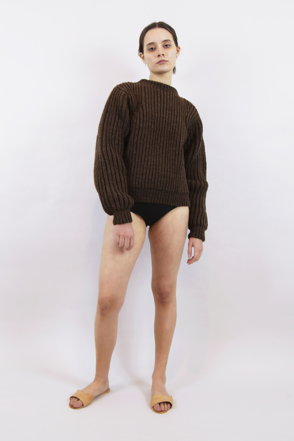 OUND HAND KNITTED WOOL JUMPER - EARTH