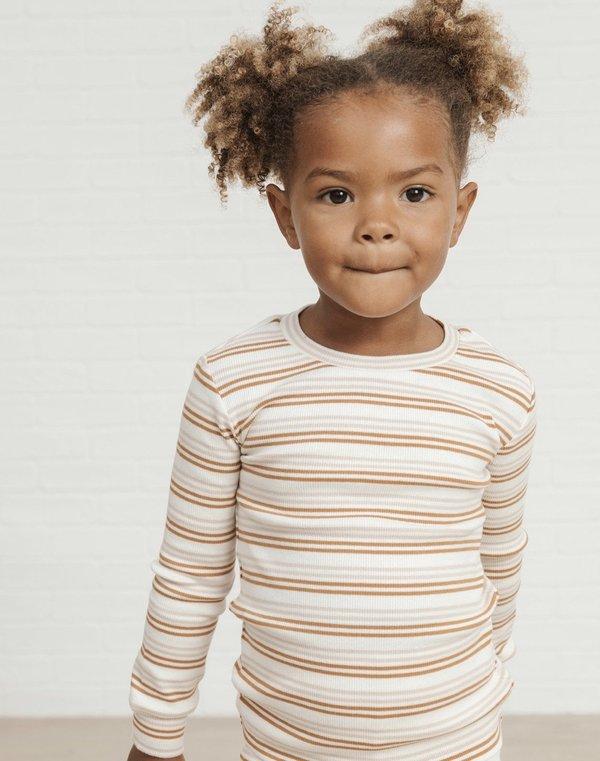 Kids Rylee + Cru Long Sleeve Pajama Set Stripe - Cinnamon/Oat Stripe