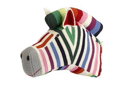 Anne-Claire Petit Zebra Multi-Colored Zebra Trophy Head - Dodo Les Bobos