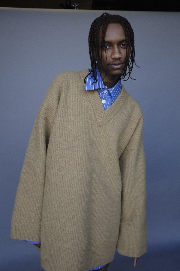 Marni Boiled Oversized Shetland Wool V-Neck Sweater
