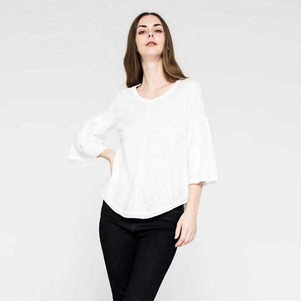 Wilt Shrunken Shirttail Pleated Bell Sleeve - White