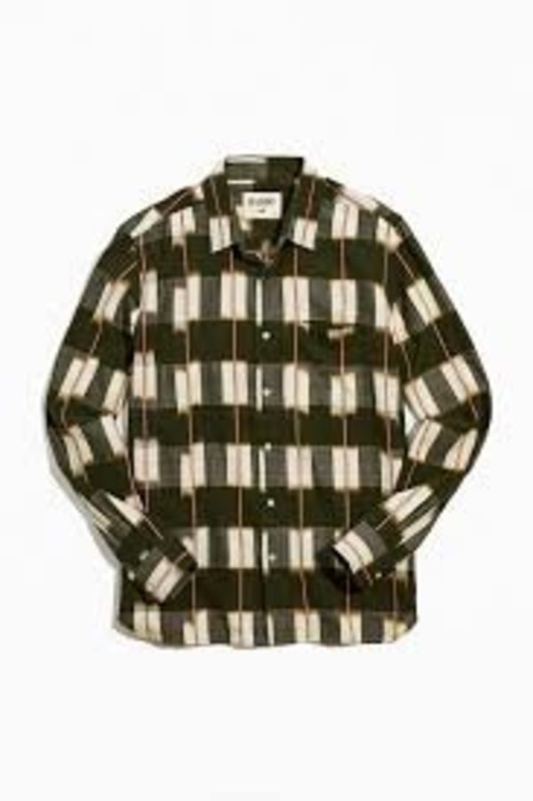 Kardo Ryan Handwoven Ikat Shirt - Green/Beige/Red