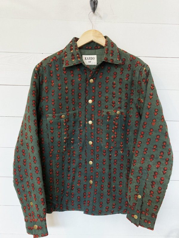 Kardo Balotra Woody Quilted Shirt Jacket - Green/Red