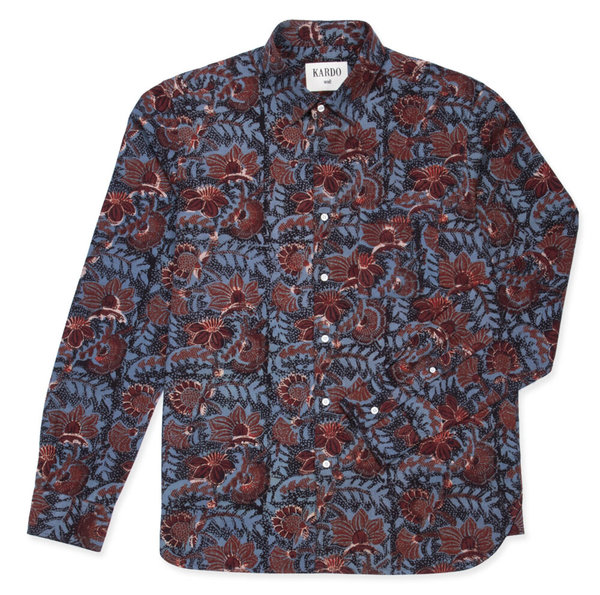 Kardo Frank Floral Block Print Shirt - Blue/red/black