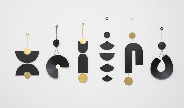 Circle and Line Double Arc Wall Hanging - Black Patina / Brass