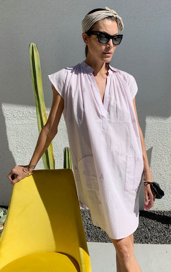 Two khadi Pocket Tunic with handwoven triangle detail - Lavender/Mauve