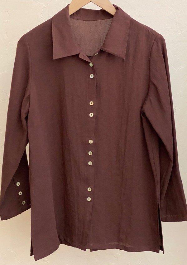 Fridaze Espresso Fun Buttons Shirt - Burgundy