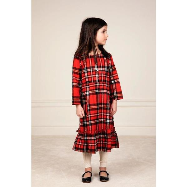 kids mini rodini woven flannel flounce dress - red